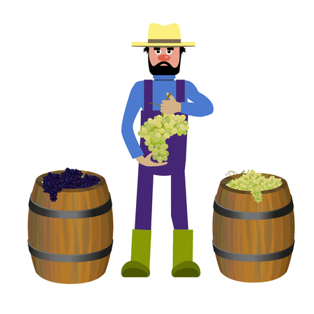 Farmer with grapes. Vector illustration