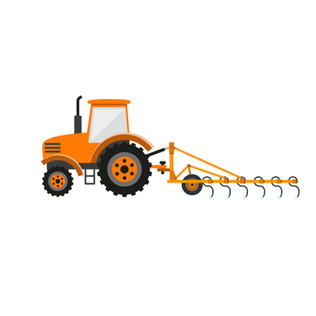 Vector tractor with tine harrow Illustration
