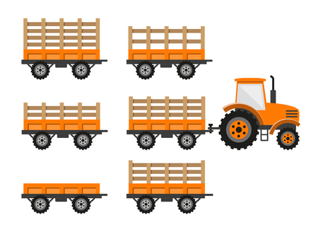 Orange tractor with trailers. Vector illustration
