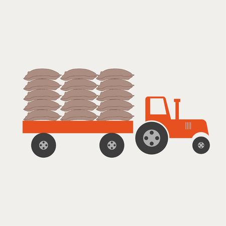 Tractor with trailer vector illustration Illustration
