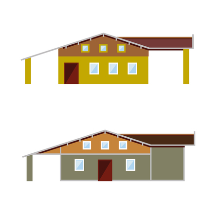 Different facades of brick house. Vector illustration Illustration