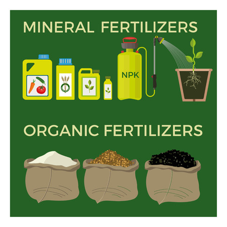 soluble: Mineral and organic fertilizers. Vector illustration