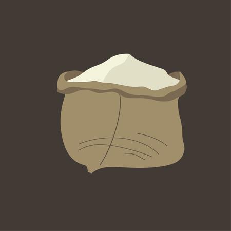 wholemeal: Sack of flour. Vector illustration