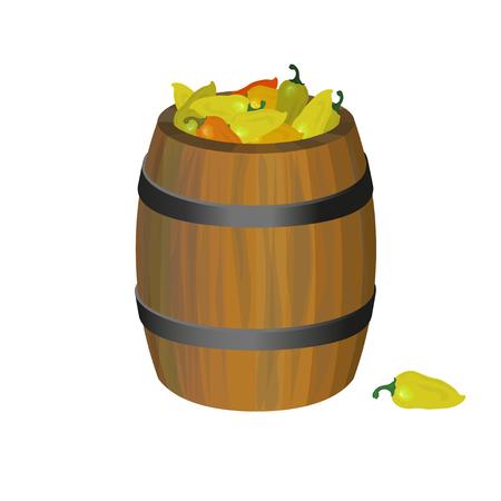 Wooden barrel with bell peppers. Vector illustration Illustration