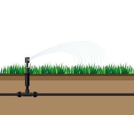Irrigazione automatica degli sprinkler. Illustrazione vettoriale Archivio Fotografico - 72984425