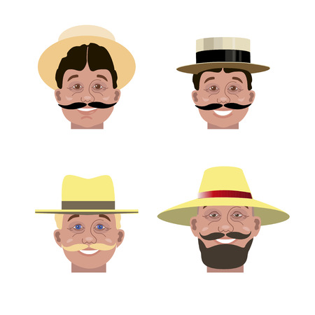 Set of mans heads in different hats. Vector illustration