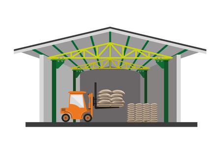 Grain warehouse, vector illustration