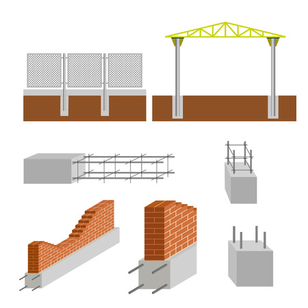 footing: Vector construction elements set. Reinforced concrete foundations.