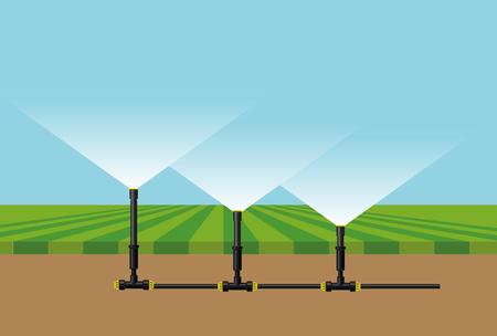 Automatic irrigation sprinklers. Vector illustration