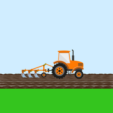 Tractor on field. Vector illustration
