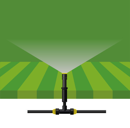 Automatic watering system, vector illustration