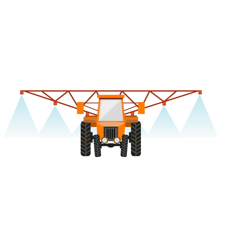 Crop sprayer or liquid fertilizer applicator. Vector illustration