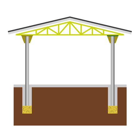 Section of industrial building. Steel frame construction, vector illustration. Çizim
