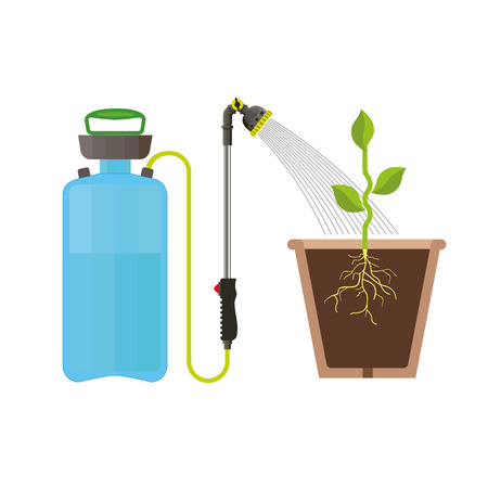 Garden sprayer watering plant in the pot, vector illustration