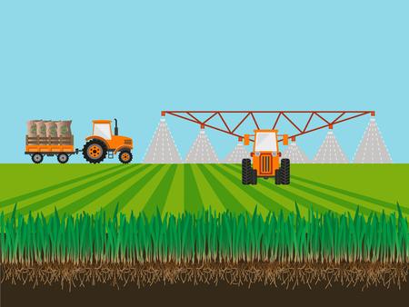 Soil and tractor fertilizing wheat field. Vector illustration Illustration