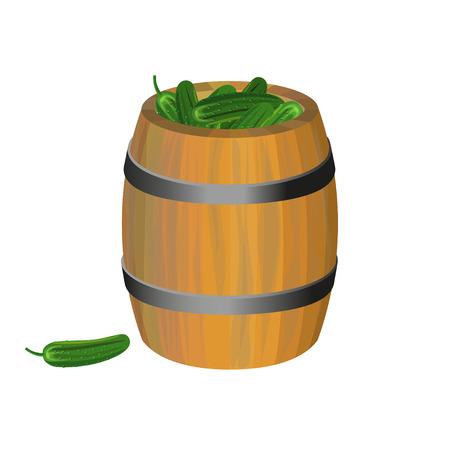 キュウリのピクルスと木製の樽。ベクトル図  イラスト・ベクター素材