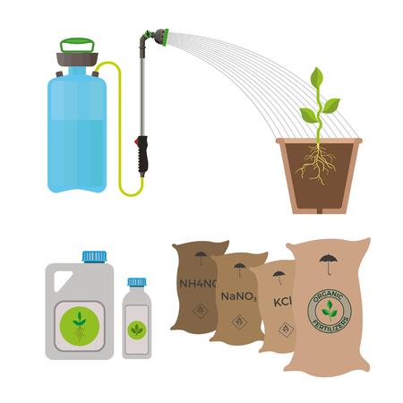 soluble: Fertilizing the plants, vector illustration Illustration
