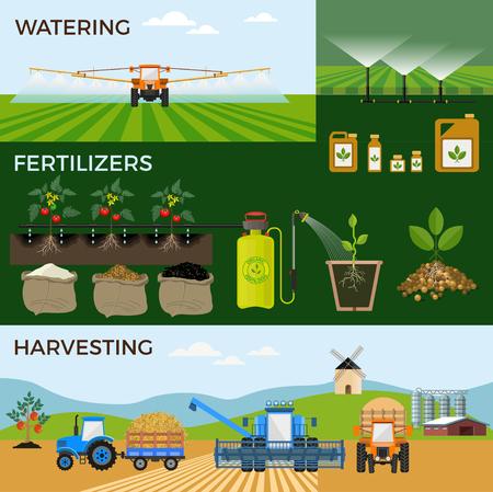 Ilustraciones vectoriales para la agricultura y la agricultura. Infografía