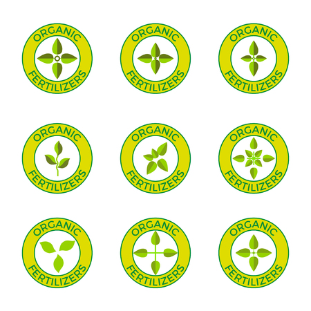 Vector labels for organic fertilizers Illustration