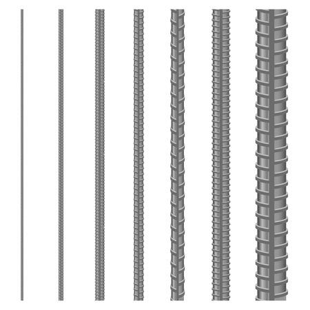 Set of seamless steel rebars, vector illustration