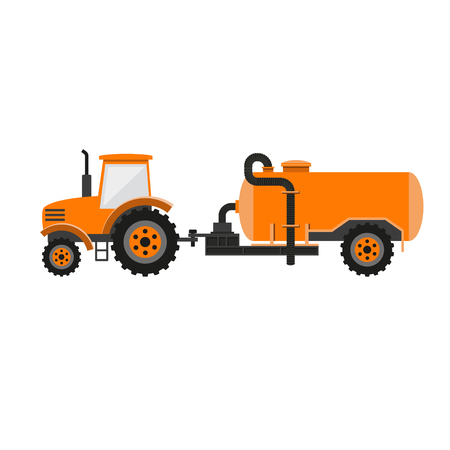 farmstead: Tractor with liquid manure tanker. Vector illustration