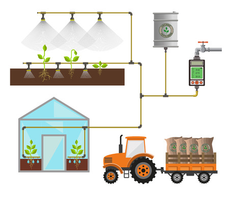 Automatic plant watering system, vector illustration