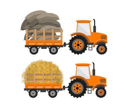 Tractor with trailer transporting bags and straw