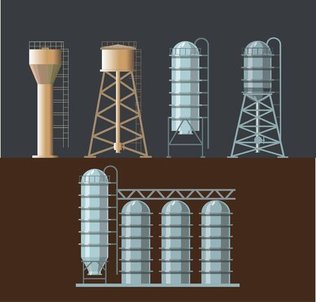 Set of farm structures - water towers and grain elevator. Vector illustration Illustration