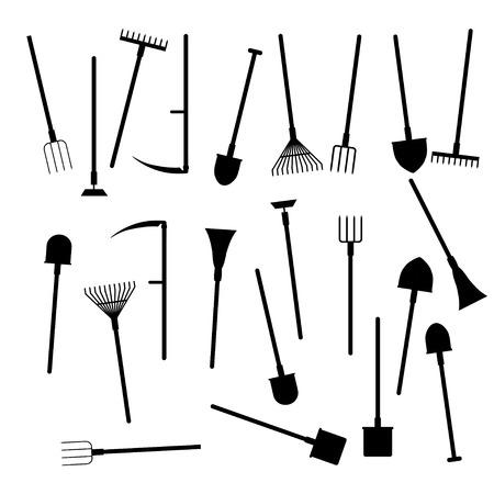 guadaña: Conjunto de herramientas de jardín de vector en estilo plano