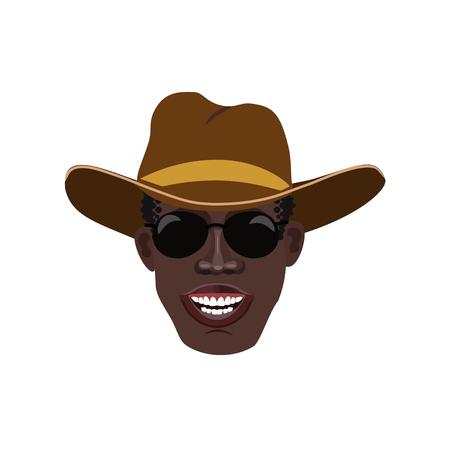 Black mans head in a cowboy hat. Vector illustration