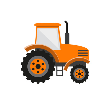 Orange tractor. Vector illustration