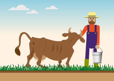 Cow and farmer at green meadow, vector illustration Illustration