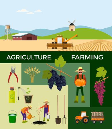 Illustrations vectorielles pour l'agriculture et l'agriculture.