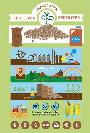 농업 및 비료 infographic에 대 한 벡터 일러스트 일러스트