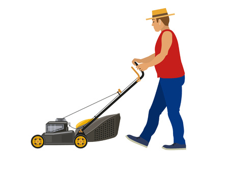 Lawn mower worker man cutting grass, vector illustration Illustration
