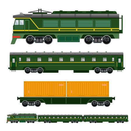 flatcar: Set of railway transport: locomotive, passenger car and flatcar