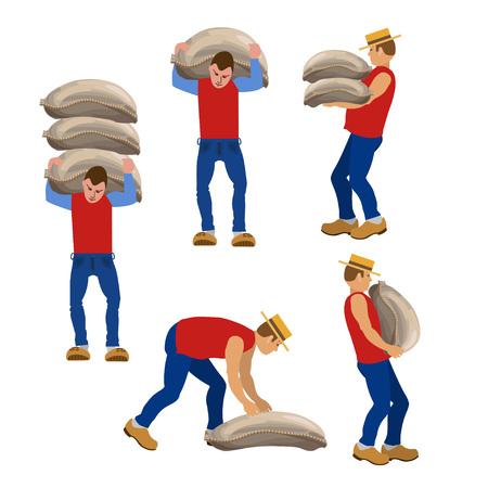 Set di operai che trasportano sacchi in varie pose. Illustrazioni vettoriali. Vettoriali