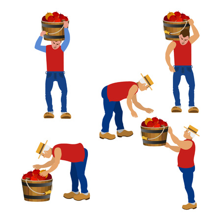 Farmers carrying buckets with fruits in various poses. Vector illustrations. Illustration