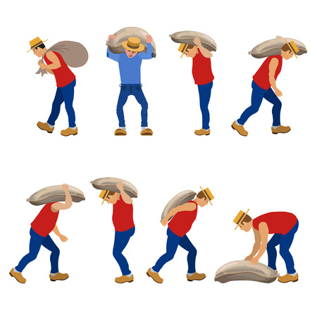 docker: Set of workers carrying sacks in various poses. Vector illustrations.