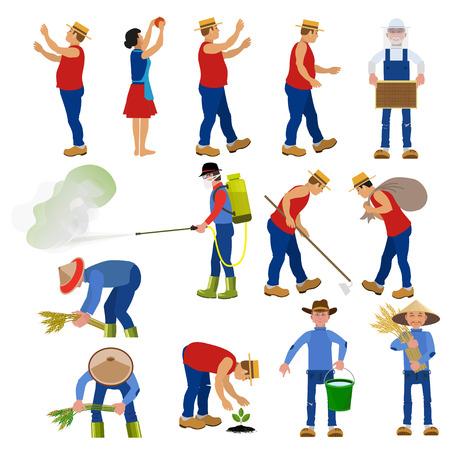 Ensemble de cultivateurs de vecteurs dans diverses poses. Illustrations vectorielles. Banque d'images - 77914848