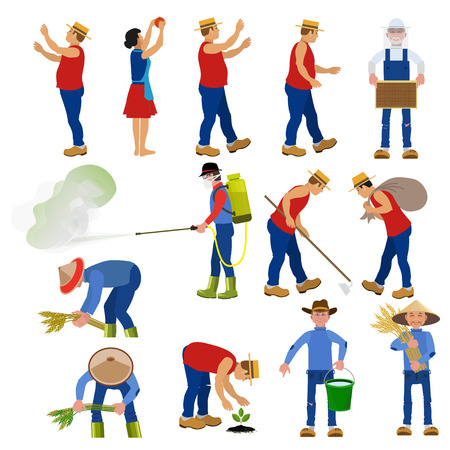 Set of vector farmers in various poses. Vector illustrations. Stock Illustratie
