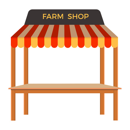 market place: Street stall with wooden rack. Vector illustration