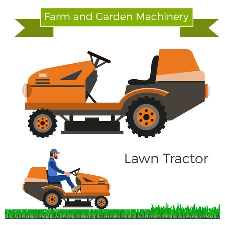 mowers: Lawn tractor. Vector illustration. Illustration