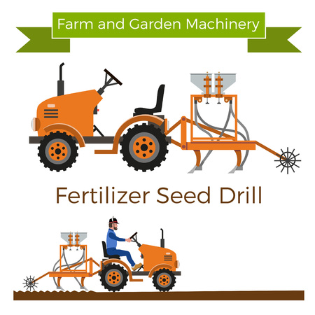 Mini tractor with seeder. Vector illustration