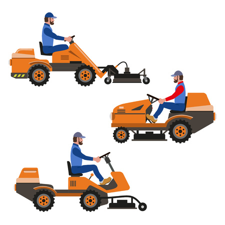 mowers: Set of vector lawn tractors, riding lawn mower.