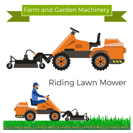 mowers: Riding lawn mower. Vector illustration.