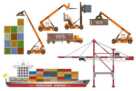 Vector set van containerschip, aanhangwagen en hefapparatuur.