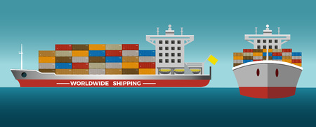 Laden container ship. Front view and side view.