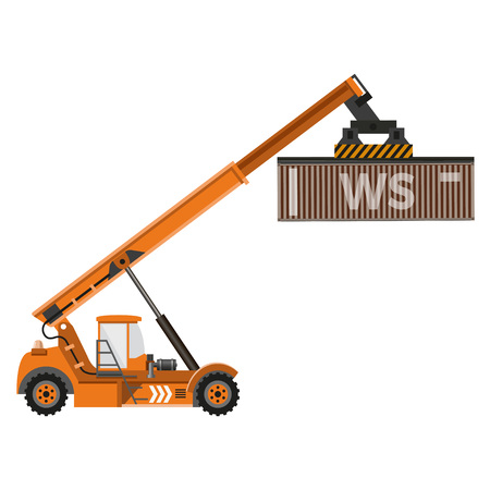 Reach stacker with container. Vector illustration Illustration