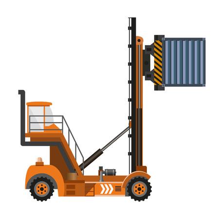 Reach Stacker mit Container. Vektor-Illustration